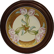 SALE Beautiful Framed Plate ~ Art Nouveau ~ Hand Painted Pink Tulips ~ Signed ~Amphora