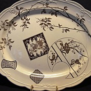 """SALE Wonderful 16"""" English Aesthetic Platter / Tray ~ Brown Transferware with Lion, Butterfl"""