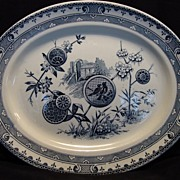 "SALE Amazing Blue and White English Aesthetic 14 ½"" Platter ~ Birds, Trees, Scenes and ..."