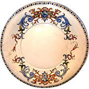 """SALE Gien French Faience / Majolica RENAISSANCE 11 1/2"""" Platter or Chop Plate~ Decorated"""