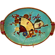 SALE Rare English Majolica PLATTER ~ Turquoise with Fan, Scroll, Crane & Insect ~ attributed t