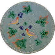 "SALE Great 11 ¼"" German Majolica Turquoise Platter~ Birds, grapes and Leaves ~ MBD Highmoun"