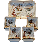 SALE Awesome Haviland Ice Cream Set ~ Platter with 12 Dishes ~ Seaside Décor with Shells, Sea