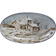 SALE Wonderful Tin Glaze / Faience Platter ~Hand Painted Winter Scene with House & Chicken ~ .