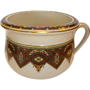 SALE Beautiful Earthenware Chamber Pot / Flower Pot ~ Art Deco Geometric Design