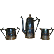 SALE Cute Sheffield Silver Plated ~ Art Deco ~Coffee Pot, Sugar & Creamer Set 1930's