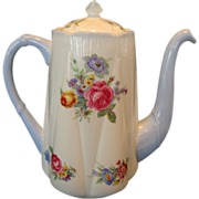 SALE Gorgeous Shelley Bone China Coffee Pot ~ Dainty Shape ~ Floral Bouquets ~ Shelley England