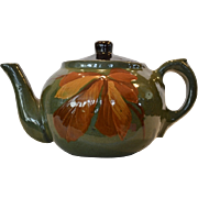 SALE Gorgeous Redware Teapot ~ Hand Painted with Autumn Leaves ~ unmarked