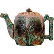 SALE Gorgeous Etruscan Majolica Teapot ~ Seaweed / Seashell~  Griffen, Smith, Hill prior to ..