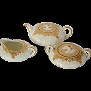 SALE Elegant Antique Porcelain  Squat Teapot,  Creamer & Sugar Set ~ Golden Swags ~Paroutaud .