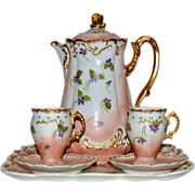 SALE Exquisite Limoges Chocolate Pot, Tray, and two Stemmed Cups with Saucers ~ Hand Painted .