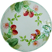 """SALE Wonderful French Majolica 8 ½"""" Plate with Red Ripe Strawberries ~ Boulenger Choisy-le"""