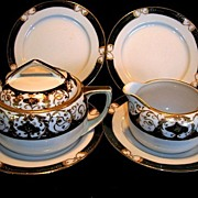ORNATE (7) Piece Service Set, Nippon, Sugar Bowl with Lid, Matching Creamer and Four Dessert P