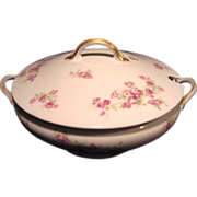 SALE Wonderful Large Round Limoges Porcelain Soup Tureen, Decorated with  Dark & Light Pink Ro