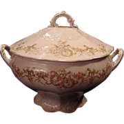 SALE Exceptional Porcelain Soup Tureen ~ Factory Decorated with Pink Enamel Flowers ~ LAMBERTO
