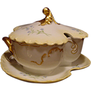 SALE AMAZING Small Limoges Porcelain Tureen ~ Golden Cream Matte / Bisque ~ Marseille ~  Hand