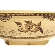SALE Amazing English Earthenware Tureen / Serving Bowl ~ Aesthetic Brown Transfers of Birds in