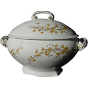 SALE Large Limoges Porcelain Soup Tureen – Yellow Dainty Flowers Accented with White Paint â
