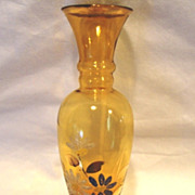 SALE Attractive Amber Glass Bud Vase ~ Coralene White, Blue and Pink Flowers
