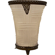 SALE Stunning  Satin Glass Vase with 24K Gold Plated Ormolu Collar & Footed Base 1920's
