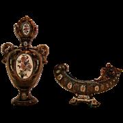 SALE Superb Austrian/Bohemian Majolica Vase and Card holder ~ Gerbing & Stephan 1885-1895