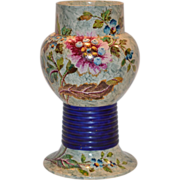 SALE Unique Antique Faience / Majolica Vase ~ Hand Painted with Colorful Flowers ~ Hautin ...