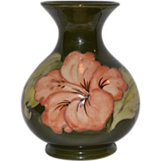 SALE Awesome Moorcroft vase in the Peach Hibiscus pattern,  Walter  Moorcroft Burslem England