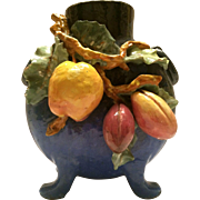 SALE Gorgeous French Barbotine Majolica Pillow Vase ~ Gros Relief of Fruit ~ Edouardo Gilles .