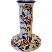 SALE Awesome Gien Faience Vase Hand Painted with bright Cornucopia of Flowers~ PORCELAINE DE .