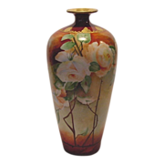 "SALE Breathtaking Limoges Porcelain 13"" Vase Hand Painted with Peach & White Roses ~ Artist"