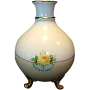 SALE Beautiful Bavarian Three Footed Vase ~ Hand Painted with Yellow Roses ~ Heinrich & Co ...