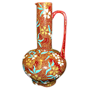 """SALE Rare Museum Quality 134 Yr Old Gien Faience / Majolica Ewer~ 8"""" H  ~ Hand ..."""