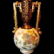 "SALE Vase English Earthenware ~ 13"" ~ Chrysanthemums of Pink, Purple & Blue ~ Pattern: .."