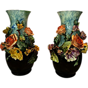 """SALE (2) Large 14""""  Barbotine Vases. FMCo (American) ~ Gros relief with Yellow & Salmon R"""