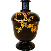 SALE Nice Old Japanese Lacquered Sake bottle / Vase ~ Maki-e Gold lacquer Prunus Tree