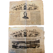 Two (2) Original Civil War Newspapers of Forney's War Press with uncut pages. The issues dat
