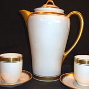 SALE Elegant Pickard Decorated Porcelain Chocolate Pot with 2 Matching Cups and Saucers ~ Hand