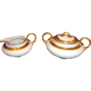 SALE Classy Pickard Decorated Limoges Porcelain Creamer and Sugar ~ Hand Painted with Gold and