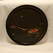 SALE Old Black Lacquer Tray ~ Hand Painted with Japanese Houses and Landscape.