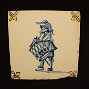 SALE GREAT Dutch Delft Ceramic Tile  WITH FLEUR DE LIS and a Drummer ~ Plateelbakkerij Delft A