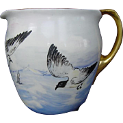 SALE WONDERFUL Lenox Belleek Lemonade / Cider Pitcher ~ Hand Painted with Ocean,Sea Gulls&Boat
