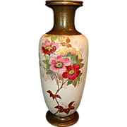 """SALE Earthenware Bud Vase ~  8 ½"""" Tall Tapestry Ground with Pink Roses ~ Artist ..."""
