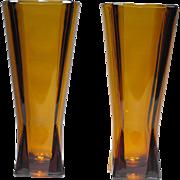 Pair of Anchor Hocking Glass Atomic Pattern M572 Paneled Vases in Desert Gold