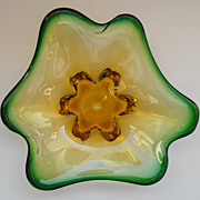 Mid-Century Murano Art Glass Biomorphic Amoeba Bowl