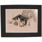 Original Old Gelatin Silver Print Photograph of an Oklahoma Gas Station -Gas 17 cents a ...