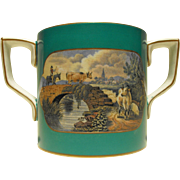 F. and R. Pratt Fenton Loving Cup with Turquoise Colored Ground and Transfer Decorations of ..
