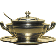 SOLD B & O Baltimore and Ohio Railroad Reed and Barton Covered Soup Tureen with Soup Spoon and