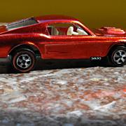 Original 1968 Mattel Redline Hot Wheels Custom Mustang Spectraflame Red with White Interior, U