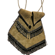 SALE Vintage Purse Handbag from 1920 Suede with Glass Beads