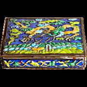 SALE Enamel Box w/ Dragons China Brass and Enamel